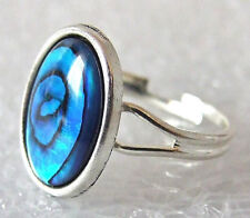 Genuine Rare Blue Paua (Abalone) Shell Adjustable Ring Size M-P in Gift Box