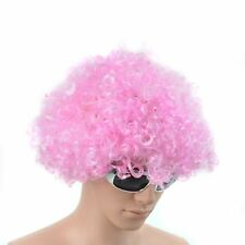 PINK CURLY AFRO WIG FANCY DRESS PARTY COSTUME ACCESSORY DISCO CLOWN UNISEX 70S