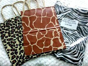 Paper Gift Bags Assorted Animal Print Giraffe Zebra Leopard Tissue Paper