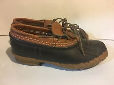 LL BEAN Original Brown Tan Leather Rubber Ankle Low Gumshoe Duck Boots Women 8