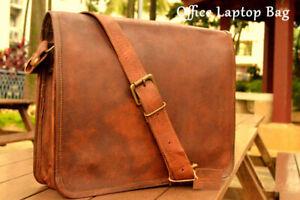 Vintage New Leather Men Satchel School Messenger Crossbody Brown Large Bag