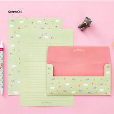 NEW Cute White Kitty Letter set -4sh Green Writing Stationery Paper 2sh Envelope