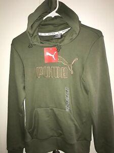 PUMA Womens Hoodie Hooded Sweatshirt Military Green Pocket Gold elevated logo S