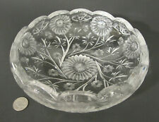 """RARE Signed TAYLOR BROS American Brilliant Cut Glass BUTTERFLY FLOWERS 9"""" Bowl"""