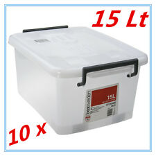 10 x 15Lt STORAGE TUB BOX CONTAINERS HEAVY DUTY ROLLER LIDS CARRY HANDLES AP