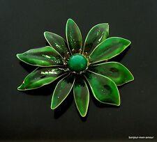 1950's große !! Grün emaillierte Blüten Brosche, Broch, Brooch, Spilla, Pin, RAR