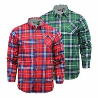 Mens Check Shirt Brave Soul Albert Flannel Brushed Cotton Long Sleeve Casual Top