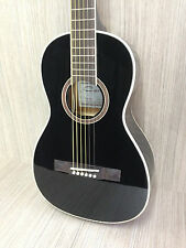 Caraya 590 Acoustic Parlor Guitar w/Built-in EQ,Black+Free gig bag,Spare strings