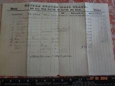 1842 US Mail Coach 9 X 14 Way Bill Boston Groton Keene MA NH CT