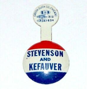 1956 ADLAI STEVENSON ESTES KEFAUVER TAB campaign pin pinback button political