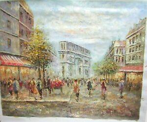 PARIS STREET MARKET SCENE ORIGINAL OIL ON CANVAS PAINTING UNSIGNED