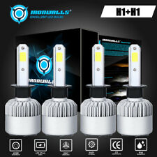 4X H1 4000W COB LED Headlights High/Low Beam Combo Bulbs 6000K Replacement HID