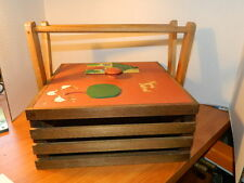 wood wooden basket box w/ handle & top Home baked food carrier primitive country