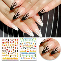 3D Nagel Aufkleber Self-adhesive Nail Art Decals Flame Image 3D Nail Dekoration