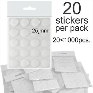 """25mm 1"""" Inch Clear Epoxy Resin Dome Stickers Self Adhesive Bottle Caps cabochon"""
