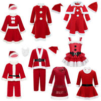 Kids Boys Girls Christmas Santa Clause Costume Xmas Party Fancy Dress Hat Outfit