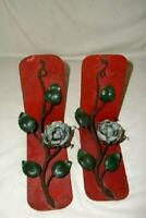 ITALIAN TOLE ROSES BOOKENDS PALE AQUA GILT ROSE CHIPPY 1920s UNUSUAL COLORS HP