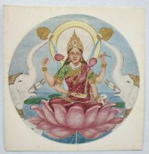 India Vintage Label GODDESS LAKSHMI ON LOTUS 4.25in x 4.50in