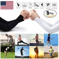 [5 Pairs] Unisex Cooling Arm Sleeves Cover UV Sun Protection Basketball Sport