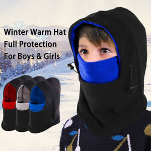 Kid Boys Girls Balaclava Hat Children Winter Ski Face Mask Fleece Snood Warm Cap