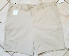 IZOD Saltwater Mens Relaxed Stretch Flat Front Shorts, Khaki, Size 40