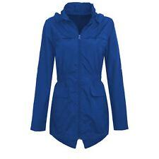 Womens Plus Size Lightweight Hooded Showerproof Rain Coat Jacket Mac Cobalt 18