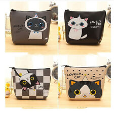 Cartoon Cat PU Coin Purse Women Children Wallet Bag Zip Mini Pouch Bag Handbag