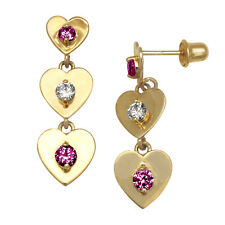 14K Yellow Gold Zircon & Ruby Heart Dangle Stud Screwback Earrings