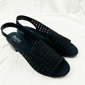 Munro Black Genuine Leather Slingback Sandal Size 11