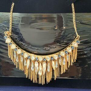 Swarovski Large Necklace Gypsy Blue Rose Gold Plating Sparkling Boxed