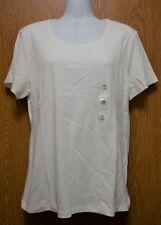 Womens White Karen Scott Short Sleeve Cotton Tee Shirt Size PL NWT NEW