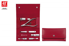 Zwilling J. A. Henckels Calf Leather Manicure Set with Snap Fastener 5 pcs Red