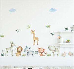 Wall stickers Monkey elephant zebra lion giraffe Decal Nursery Removable Decor