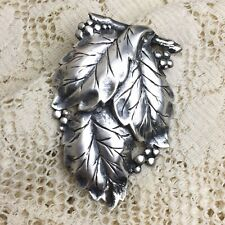 Vintage Sterling Silver Fur Clip Leaves Hinged Double Prong Brooch 40s Dress Pin