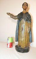 antique 1800's carved wood polychromed religious Santos Saint Anthony sculpture