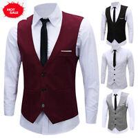 Men's Formal Business Slim Fit Chain Dress Vest Suit Tuxedo Waistcoat US Stock