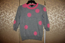 J. Crew Gray Hot Pink Multi-Color Big Polka Dot TIPPI Sweater Small S