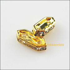 25Pcs Gold Plated Crystal Hexagon Spacer Beads End Caps 6x15mm