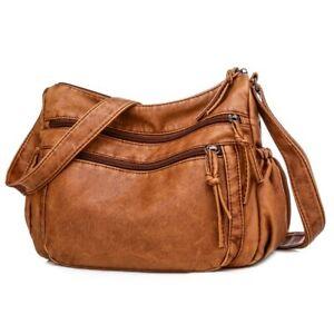 Vintage Women Pu Leather Crossbody Bag Shoulder Bag Soft Purse Multi-pockets