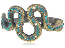 Vintage-Inspired Brass Tone Blue Eyed Zircon Rhinestone Snake Body Wrap Bracelet