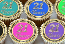 24 X 21ST BIRTHDAY ANNIVERSARY CAKE CUPCAKE TOPPERS PRINTED ON EDIBLE ICING 1179