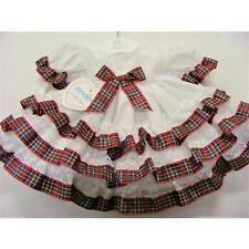 Kinder Spanish Style Baby Girls White Frilly Dress = Layered Tartan Trim Dress