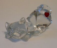 Fenton Playful Crouching Kitten w/ Red Heart - #5119HC Heartthrob Collection