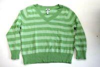 IZOD Women's Size 3X Long Sleeve Knit V-Neck Sweater Casual Stretch Green