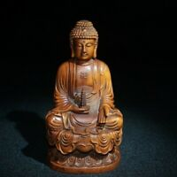 Collect Buddhism Natural Boxwood hand carved Amitabha buddha Statue figurines