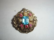 CORO Vintage Adorable Brooch Pin Brilliant Blue & Pink Rhinestone & Pearl great