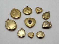 Assortment of 10 Gold Filled GF Locket Charm Pendants - Lot#15