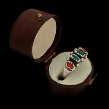 & Red Coral Row Ring Sz 5 Antique Vintage Sterling Silver Native Zuni Turquoise