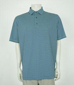 FootJoy FJ Golf Blue Striped Casual Tech Golf Polo Shirt Mens Large
