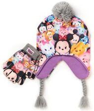 Disney's Tsum Tsum Girls Size 4-16 Earflap Pom-Pom Hat & Gloves Set
